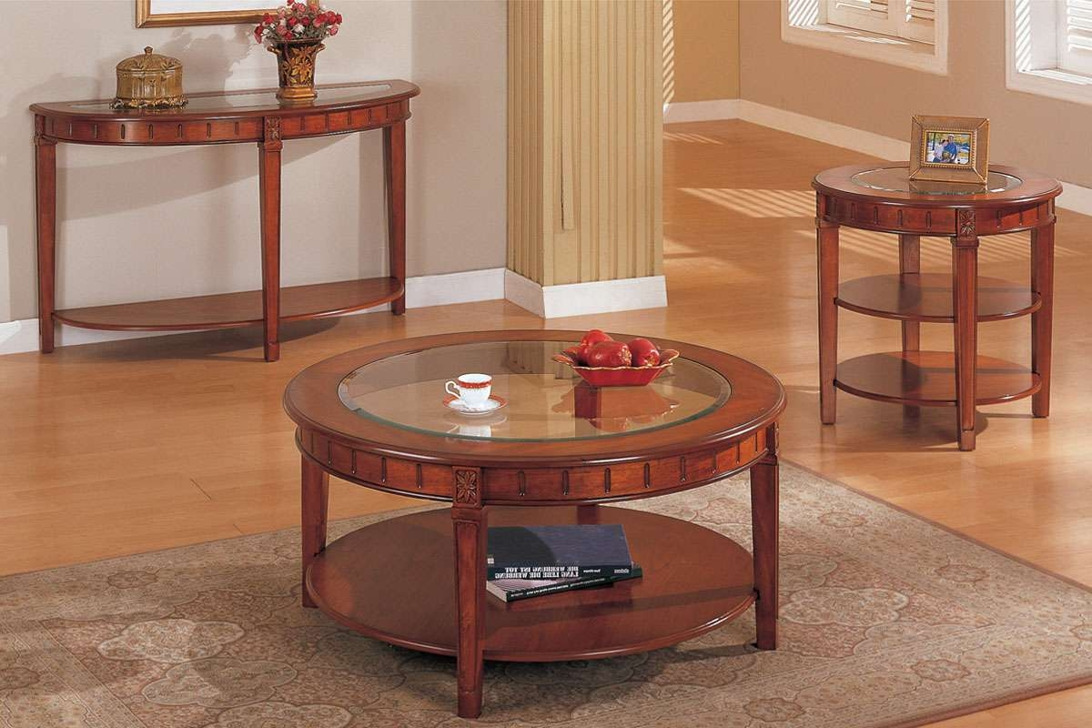 Coffee Table And Matching End Table And Console, Round, Oak Veneer For Favorite Coffee Table With Matching End Tables (View 13 of 20)