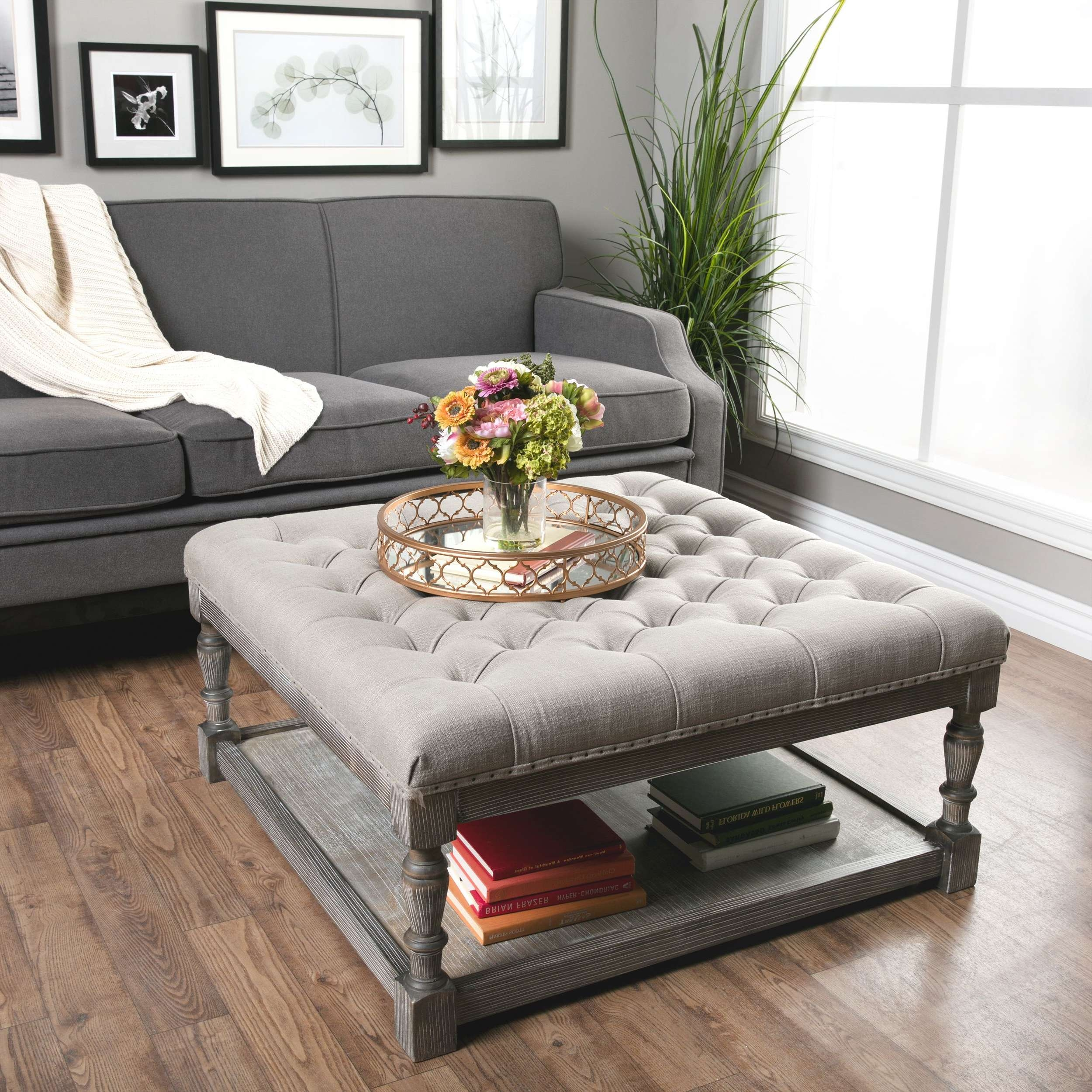Coffee Table : Awesome Tufted Ottoman Coffee Table Brown Ottoman With Regard To Most Popular Round Upholstered Coffee Tables (View 8 of 20)