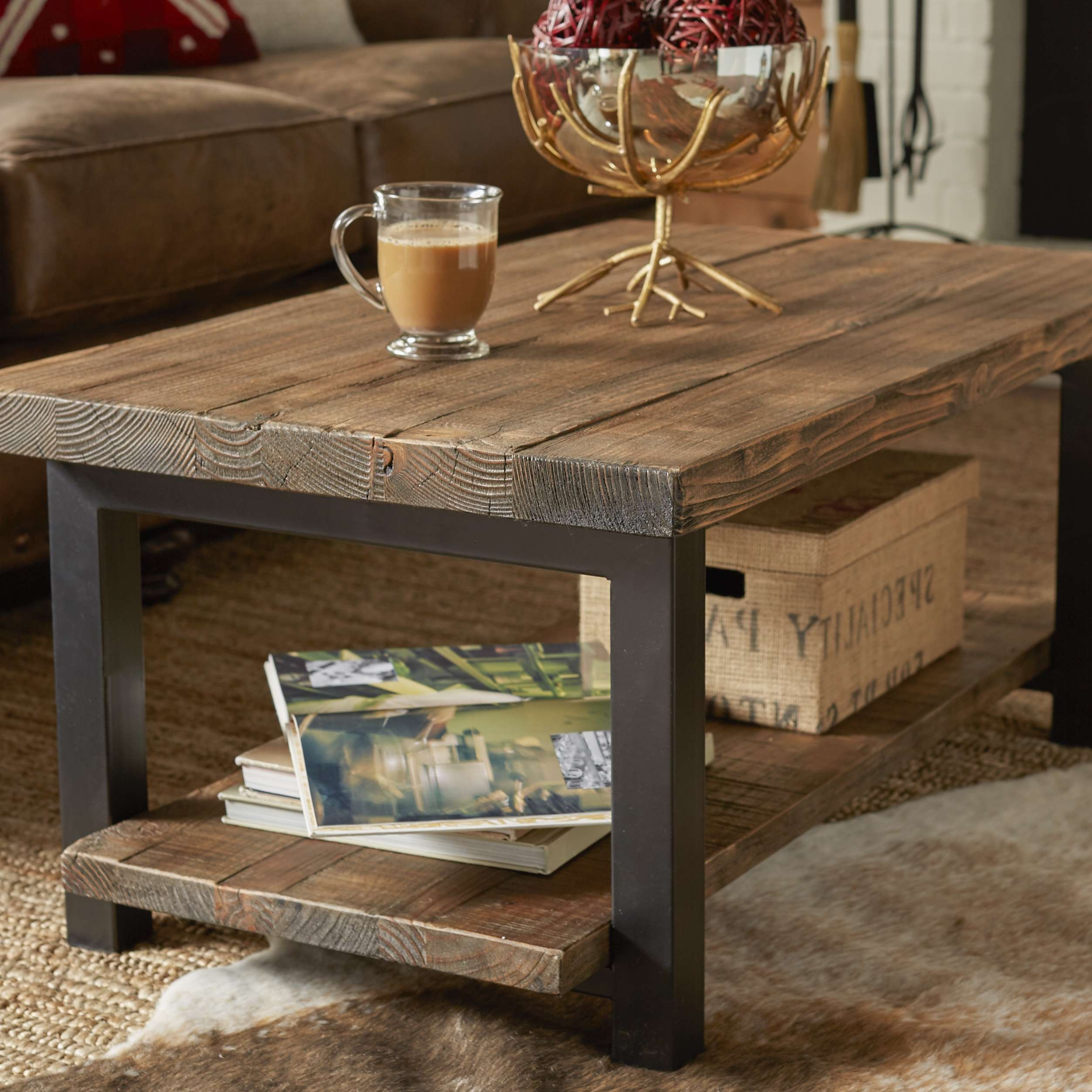 Coffee Table: Awesome Wood Metal Coffee Table Wood And Metal End With Trendy Steel And Wood Coffee Tables (View 16 of 20)