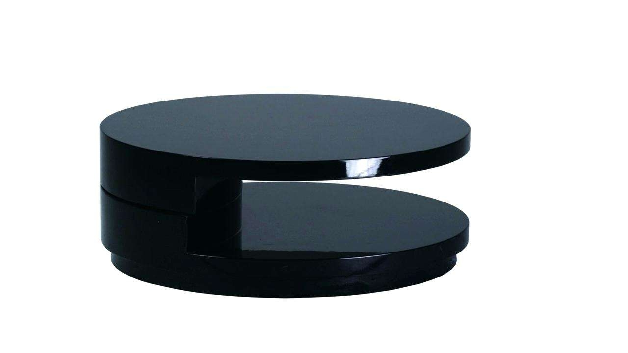 Coffee Table Black Lacquer Side Round High Gloss Regarding Cur