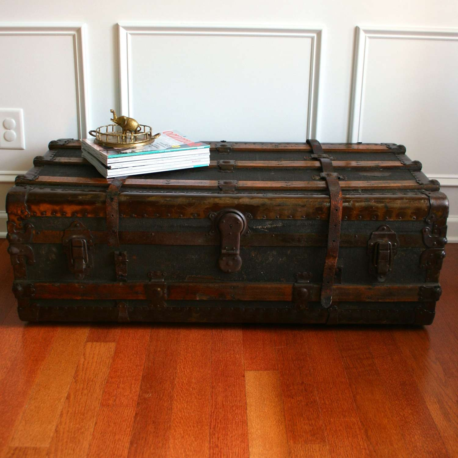 Coffee Table : Box Trunk Coffee Table Shabby Chic Trunk Coffee With Regard To Most Popular Dark Wood Chest Coffee Tables (View 5 of 20)
