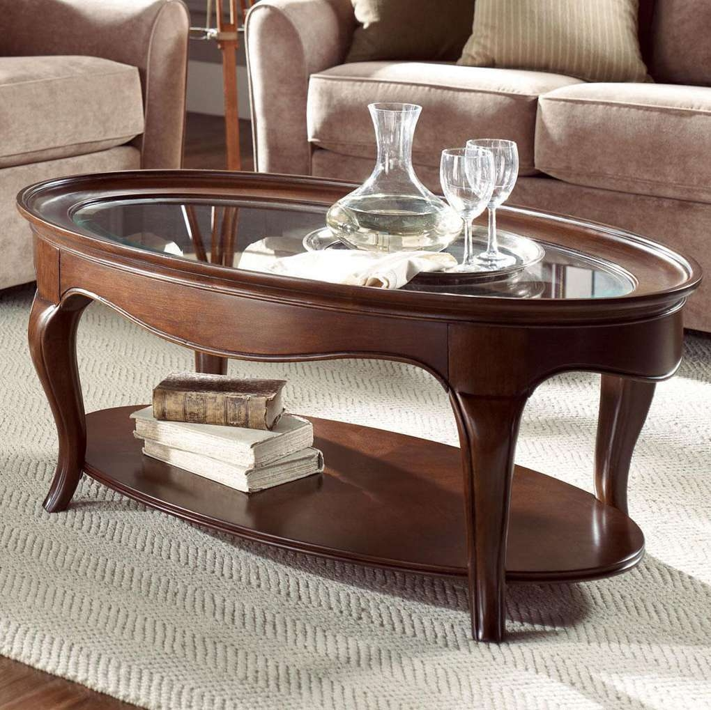 Coffee Table: Breathtaking Oval Coffee Table Glass Top Glass Table Intended For 2018 Oval Glass And Wood Coffee Tables (View 17 of 20)