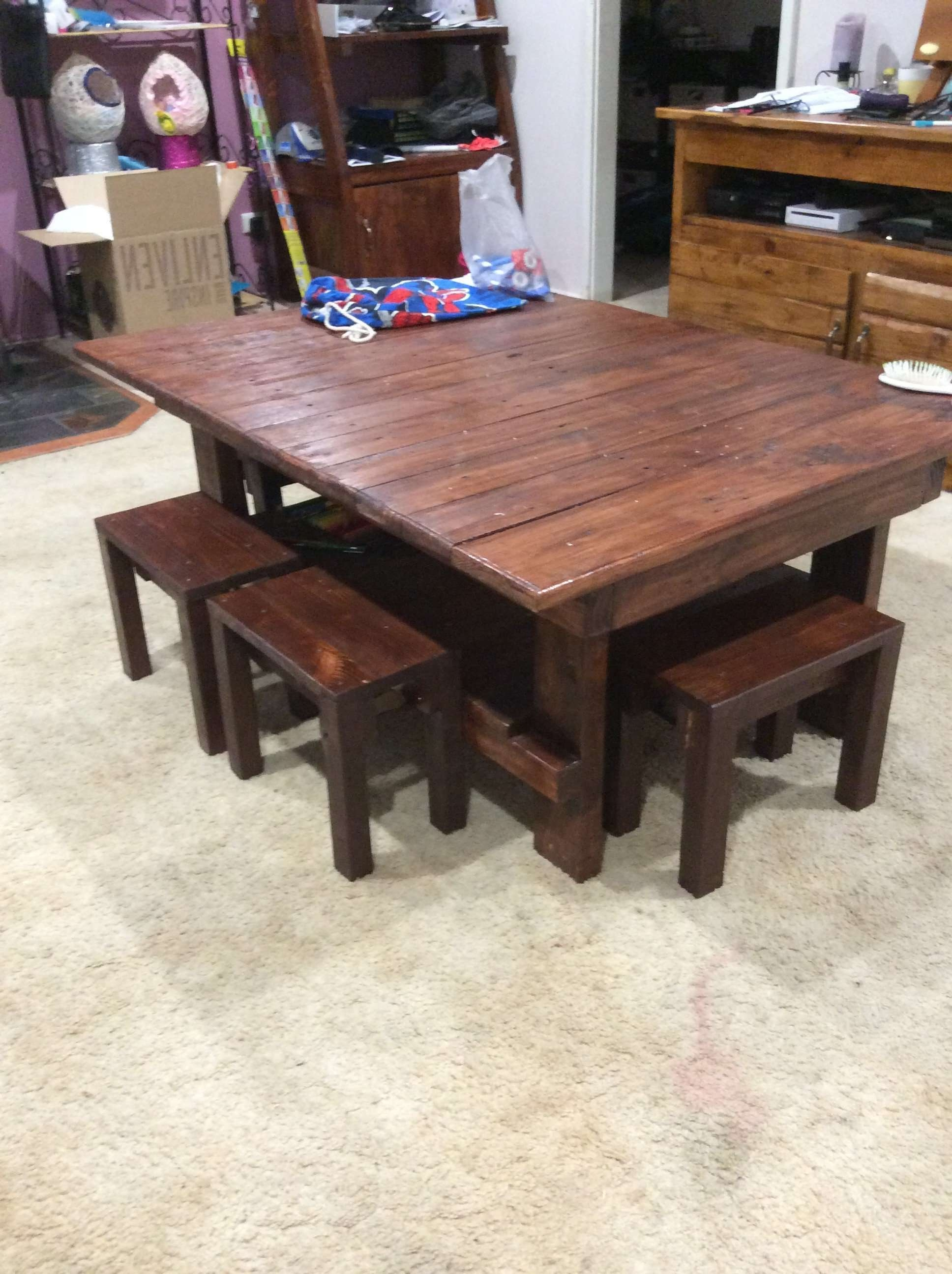Coffee Table & Chairs For The Kids • 1001 Pallets With Trendy Coffee Table With Chairs (View 4 of 20)