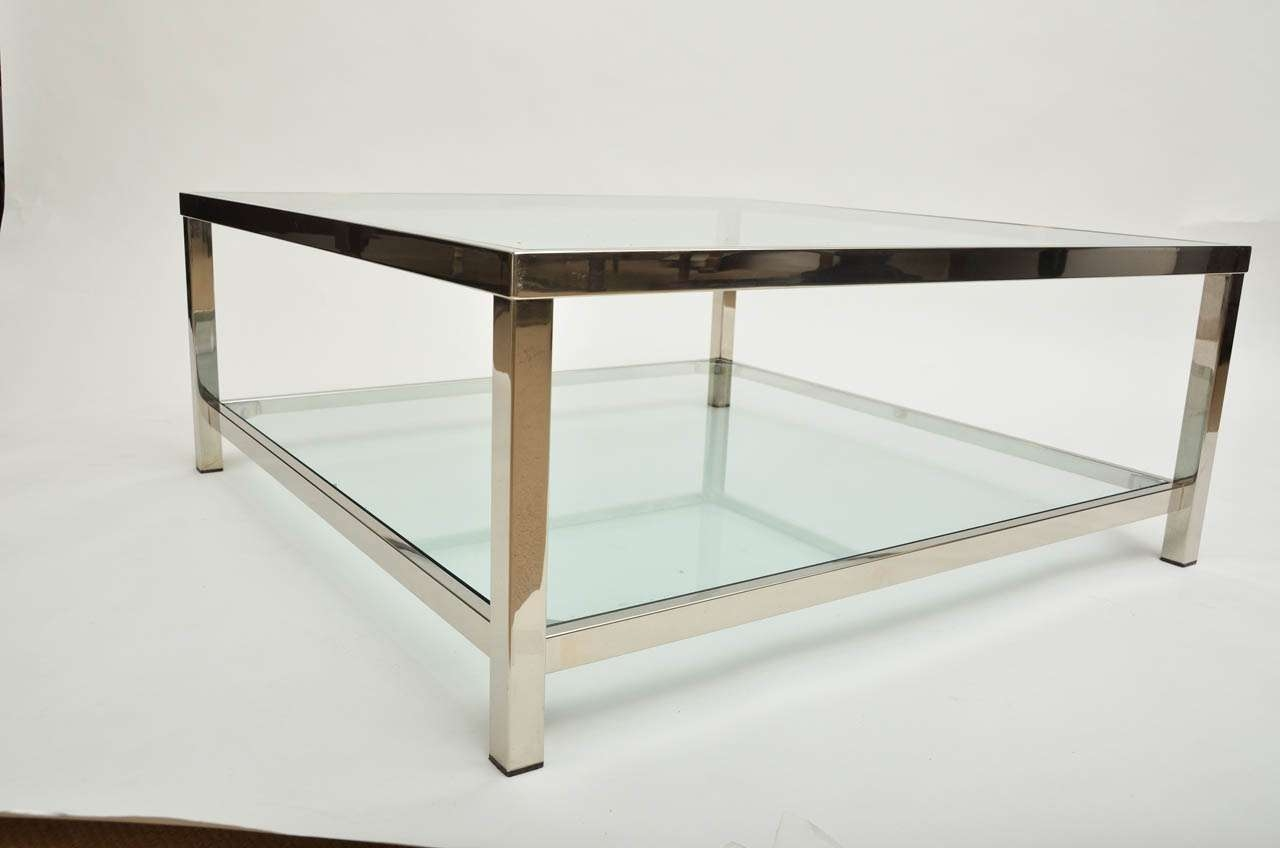Coffee Table, Chrome Glass Square Coffee Table Rustic Square Within Well Known Glass Square Coffee Tables (View 9 of 20)