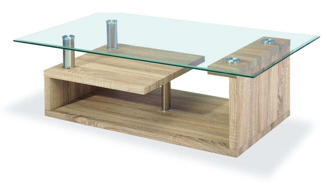 Coffee Table, Clear Glass Coffee Table Wood Veneer Base Coffee Pertaining To Trendy Glass And Wood Coffee Tables (View 5 of 20)