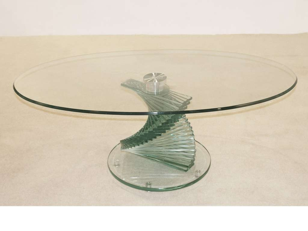 Coffee Table : Coffee Table Cordoba Twisted Stem Clear Glass Pertaining To Most Recently Released Spiral Glass Coffee Table (View 7 of 20)