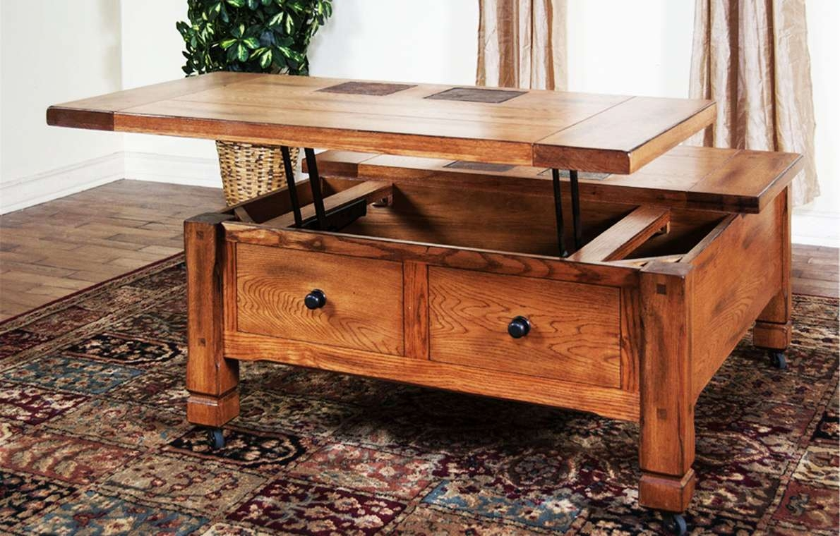 Coffee Table : Coffee Table Square Wood Tables With Drawers Sets Pertaining To Well Liked Large Coffee Tables With Storage (View 5 of 20)