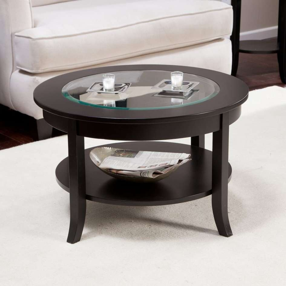 Coffee Table Contemporary Coffee Tables Glass Dark Wood Table Regarding Well Liked Round Wood And Glass Coffee Tables (View 3 of 20)