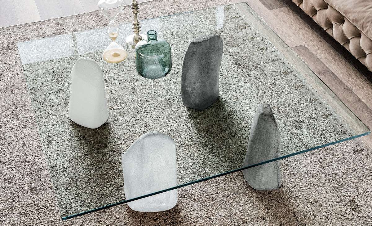 Coffee Table Contemporary Glass Rectangular Stonefossil Top Regarding Well Known Stone And Glass Coffee Tables (View 15 of 20)