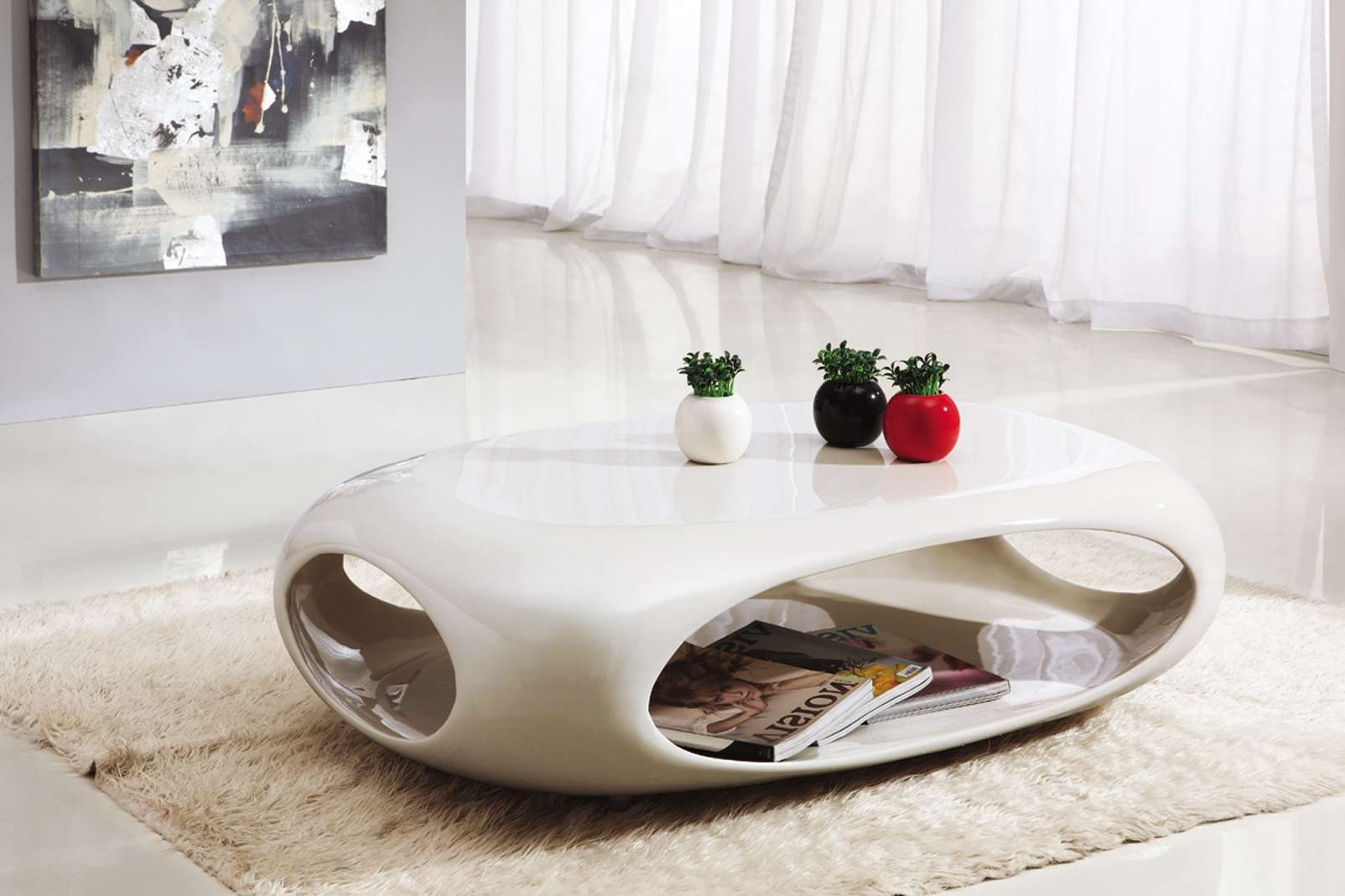 Coffee Table, Contemporary White Gloss Acrylic Coffee Table Which Intended For Most Up To Date Contemporary Coffee Tables (View 8 of 20)