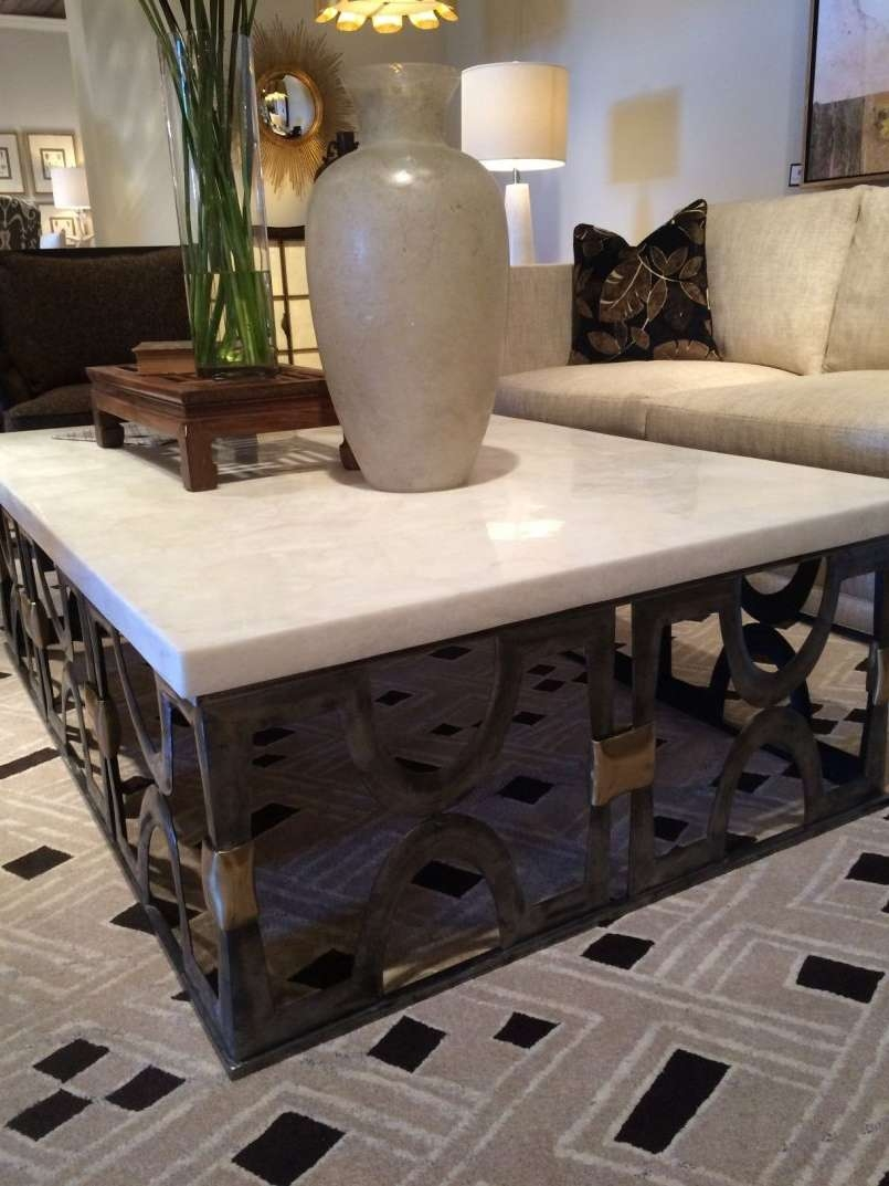 Coffee Table Dark Wood Coffee Table White Glass And Metal Iron For Widely Used Square Stone Coffee Tables (View 3 of 20)
