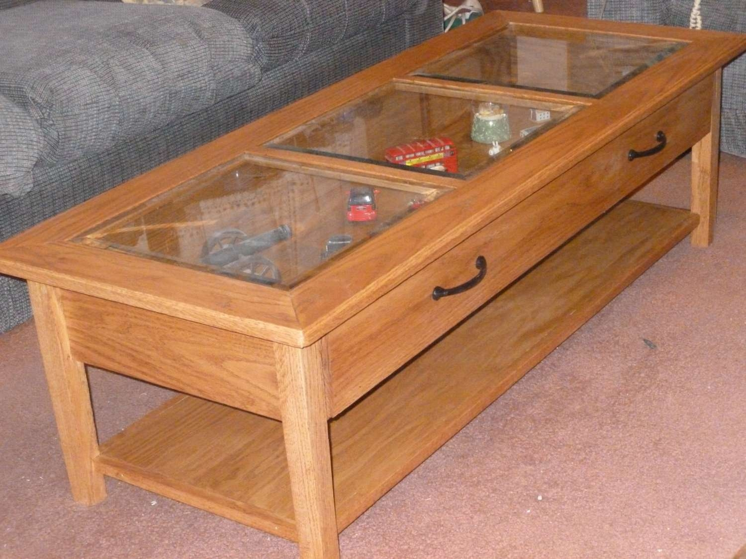 Coffee Table Display Case Zab Living Pine Glas Glass For Sale Top Within Most Up To Date Coffee Tables With Glass Top Display Drawer (View 4 of 20)