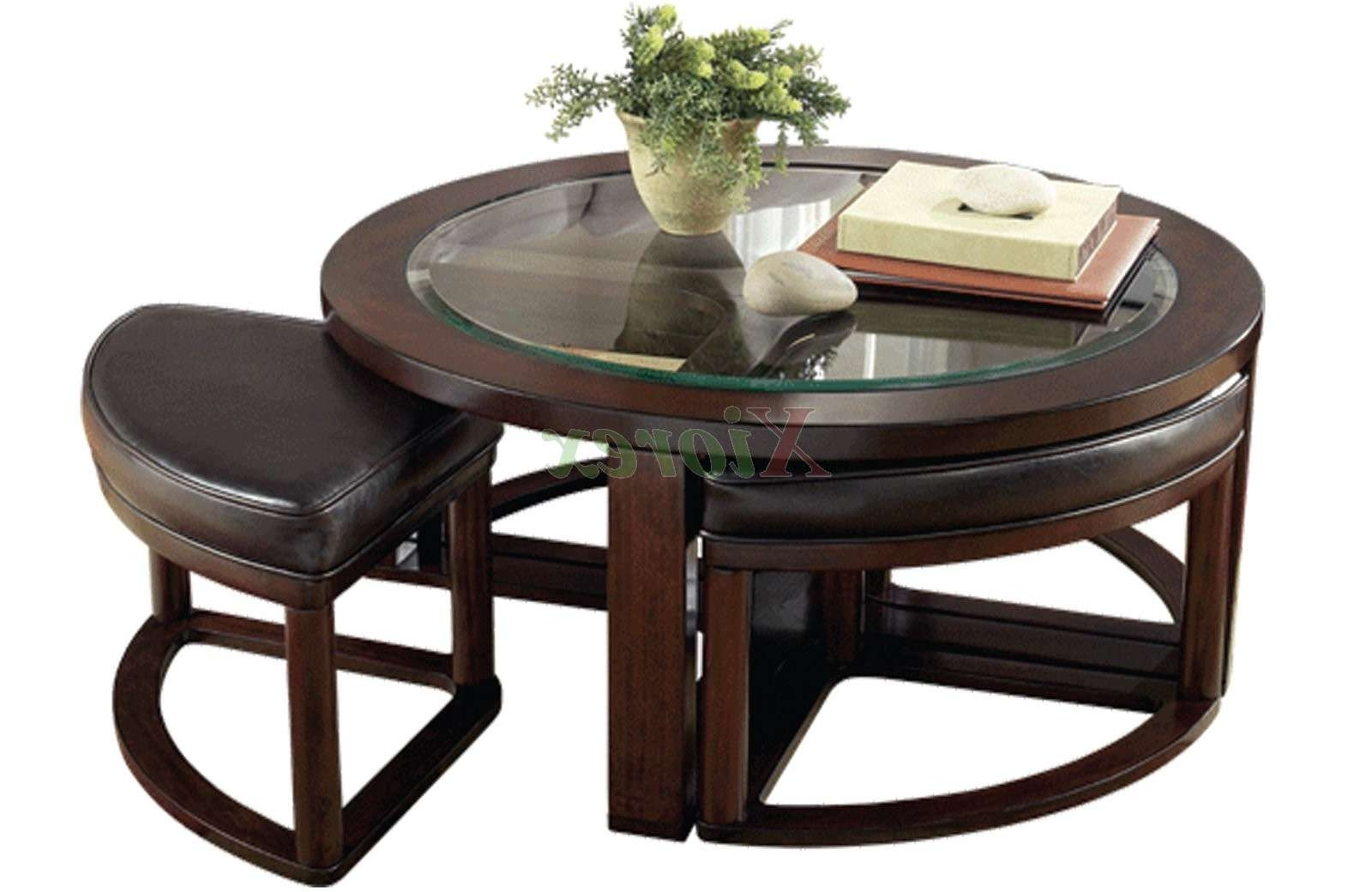Round Coffee Table With 4 Wedge Stools Buethe Org