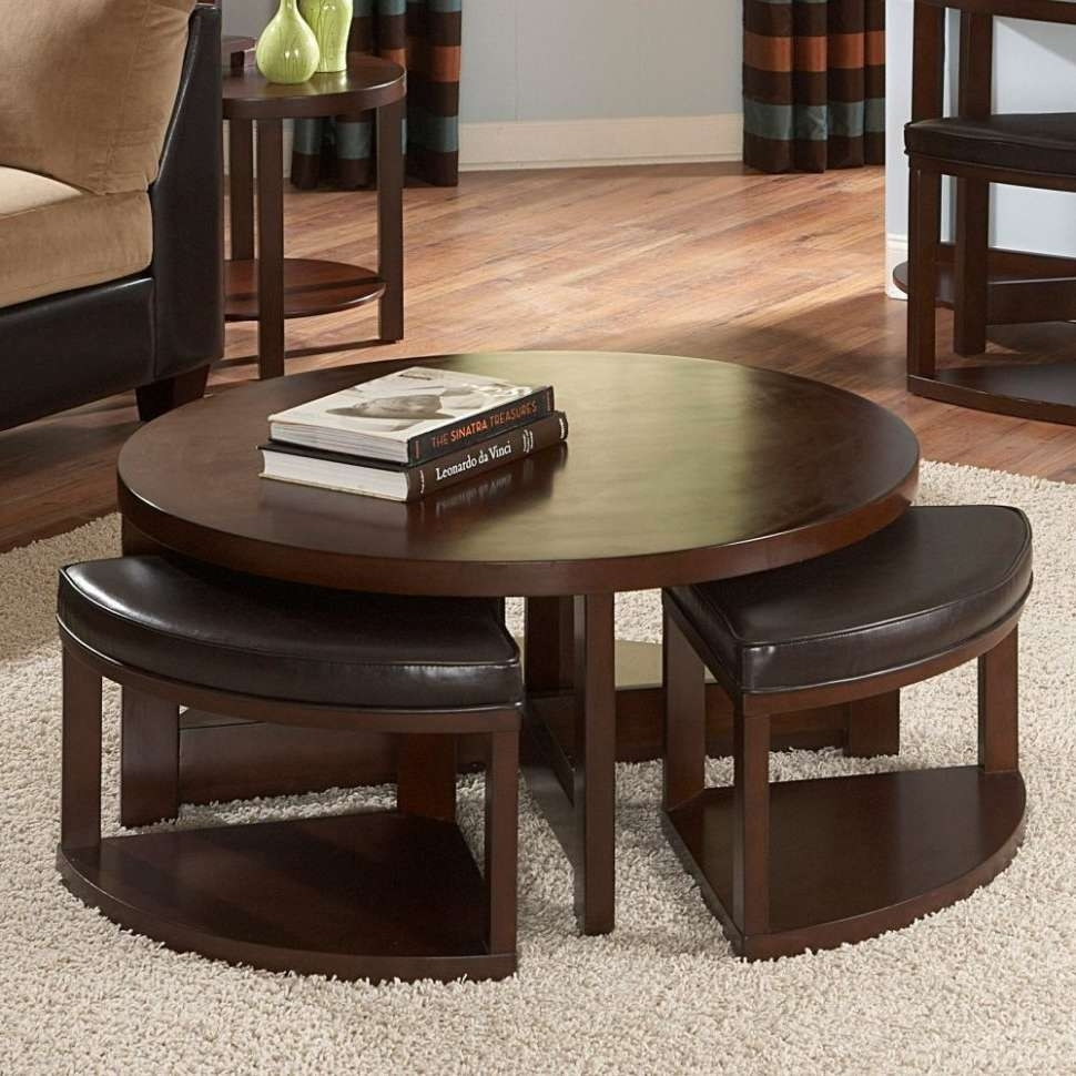 Coffee Table : Fabulous Black Round Coffee Table Marble Top Coffee Within Widely Used Coffee Tables With Seating And Storage (View 5 of 20)