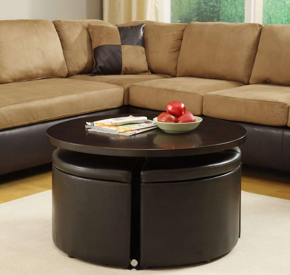 Coffee Table : Fabulous Ottoman Side Table Round Upholstered For Most Up To Date Brown Leather Ottoman Coffee Tables (View 14 of 20)