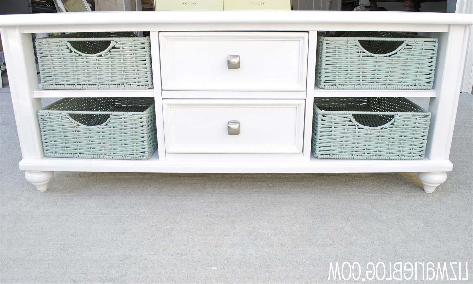 Coffee Table Facelift – Liz Marie Blog Intended For Favorite White Coffee Tables With Baskets (View 6 of 20)