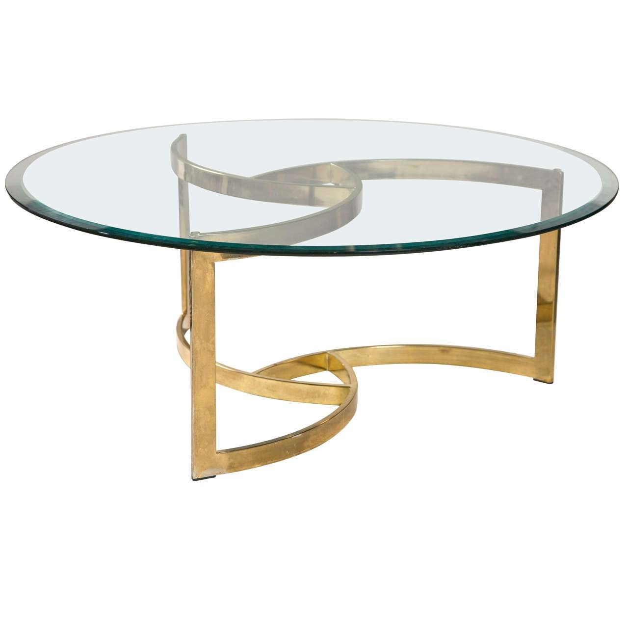 Coffee Table, Gold Base For Round Glass Top Coffee Table Glass Within  Trendy Glass Circular