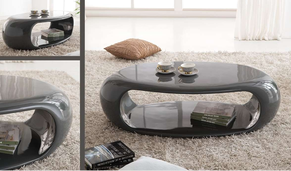 Coffee Table : Grey Coffee Table Straas Curved High Gloss In Dark Intended For Best And Newest Grey Coffee Table Sets (View 9 of 20)