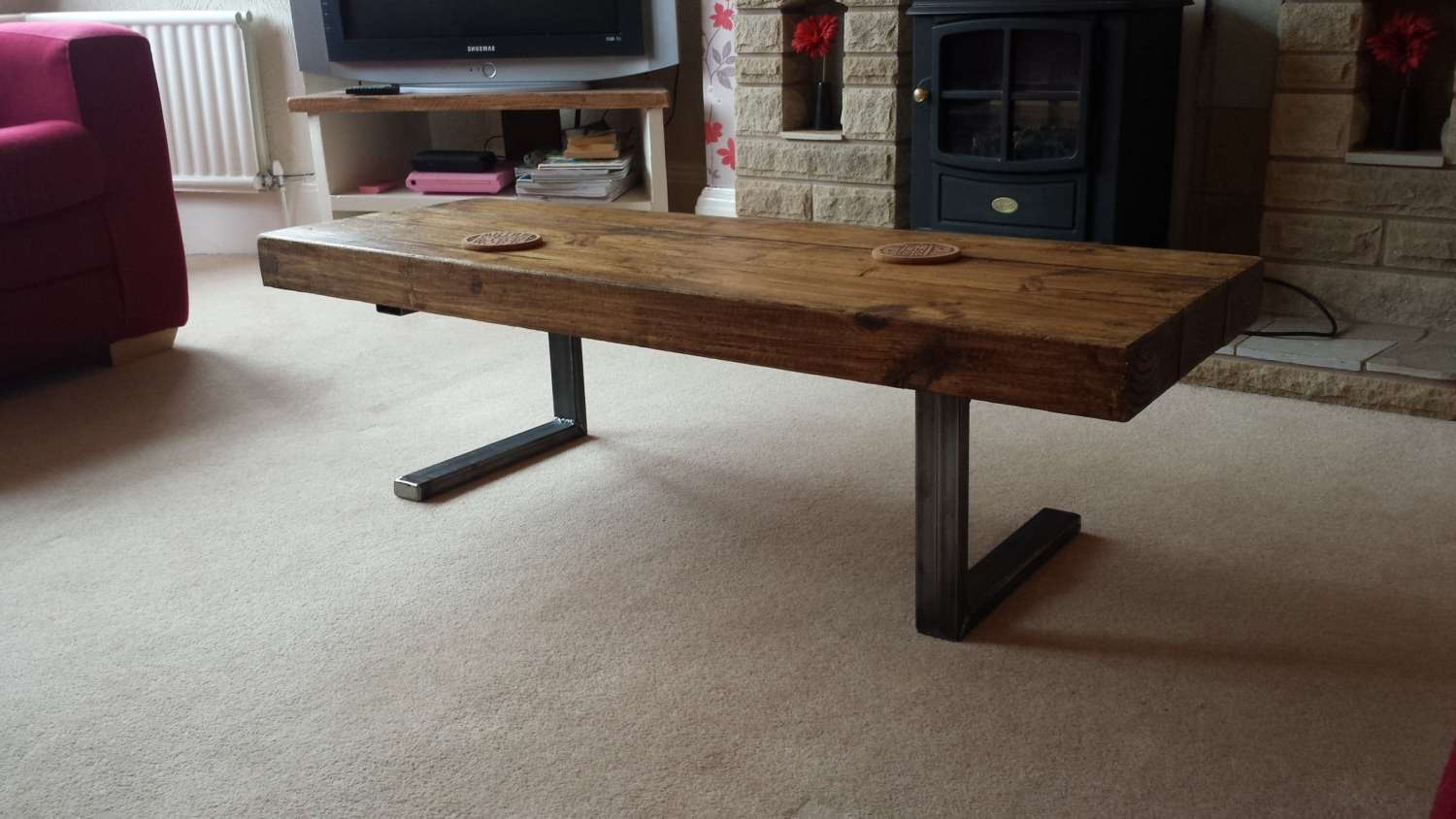 Coffee Table In Chunky Rustic Design With Steel L Shaped Legs With Regard To Preferred L Shaped Coffee Tables (View 5 of 20)