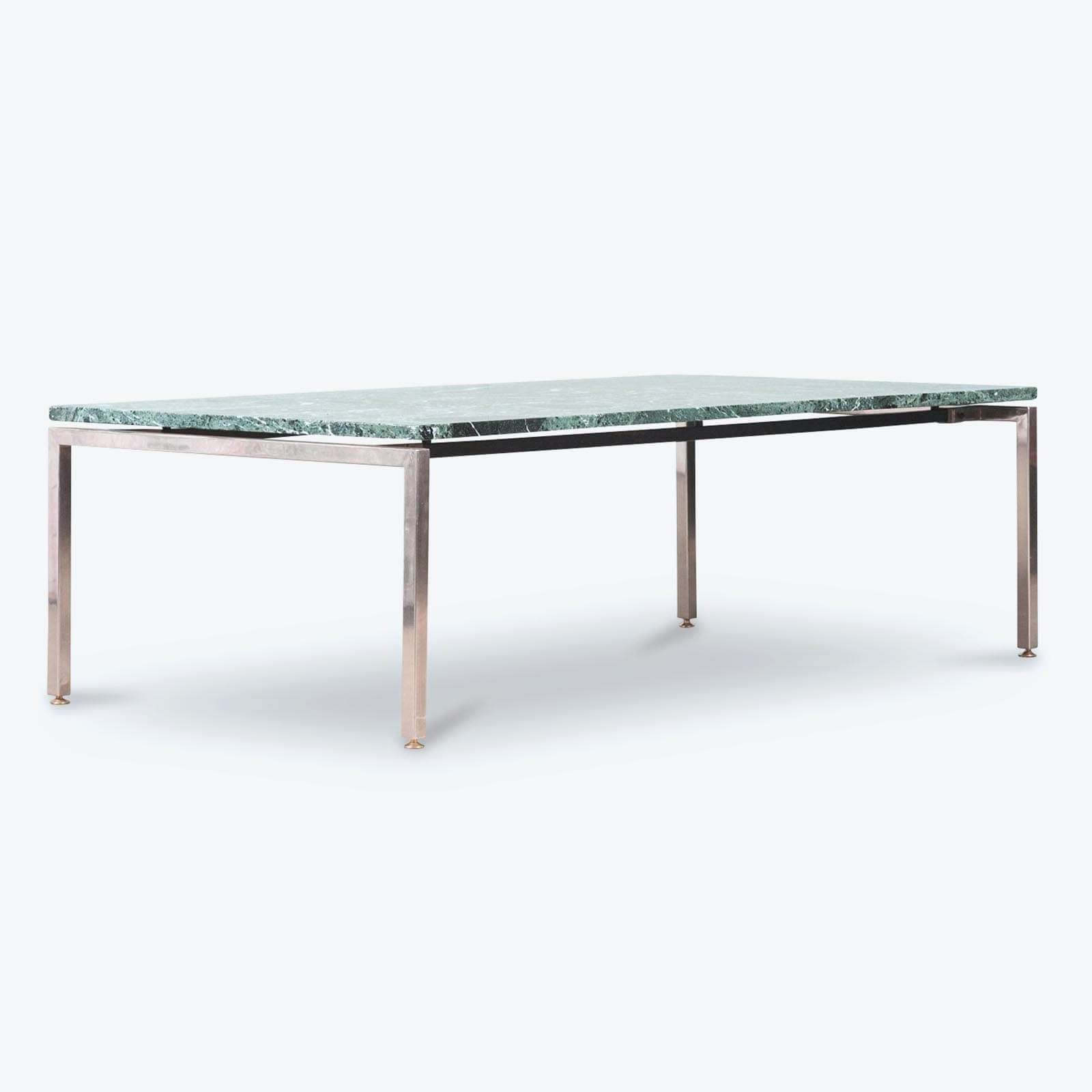 Coffee Table In Green Marble With Chrome Legs, 1960S, Netherlands Pertaining To Most Current Chrome Leg Coffee Tables (View 4 of 20)
