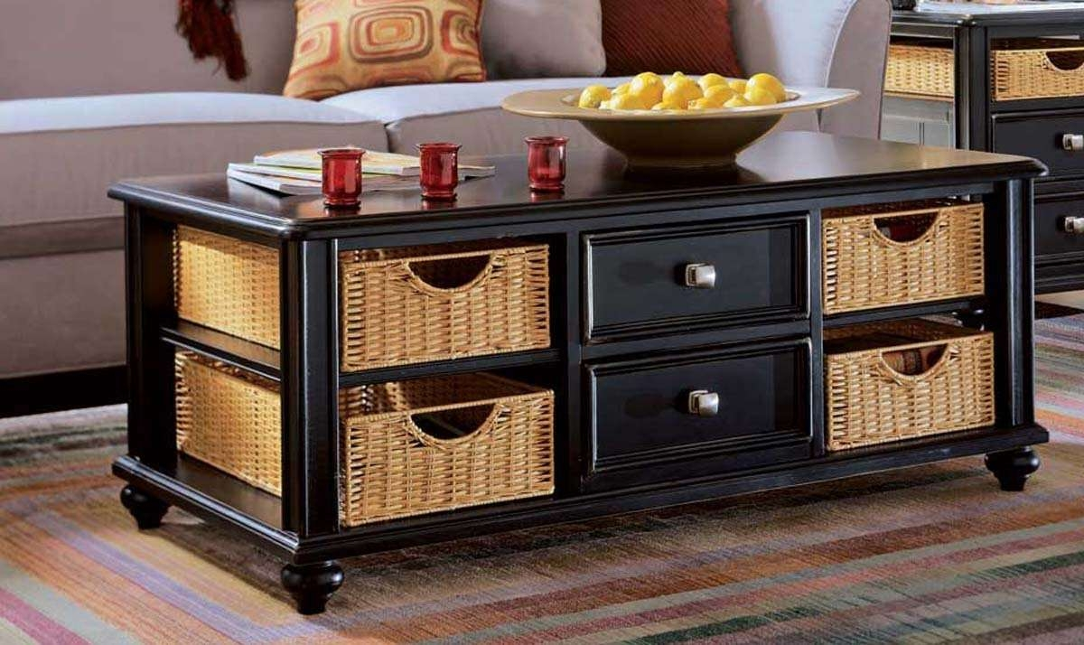 Coffee Table: Inspiring Coffee Table With Storage Design Living Throughout Widely Used Coffee Tables With Baskets Underneath (View 6 of 20)