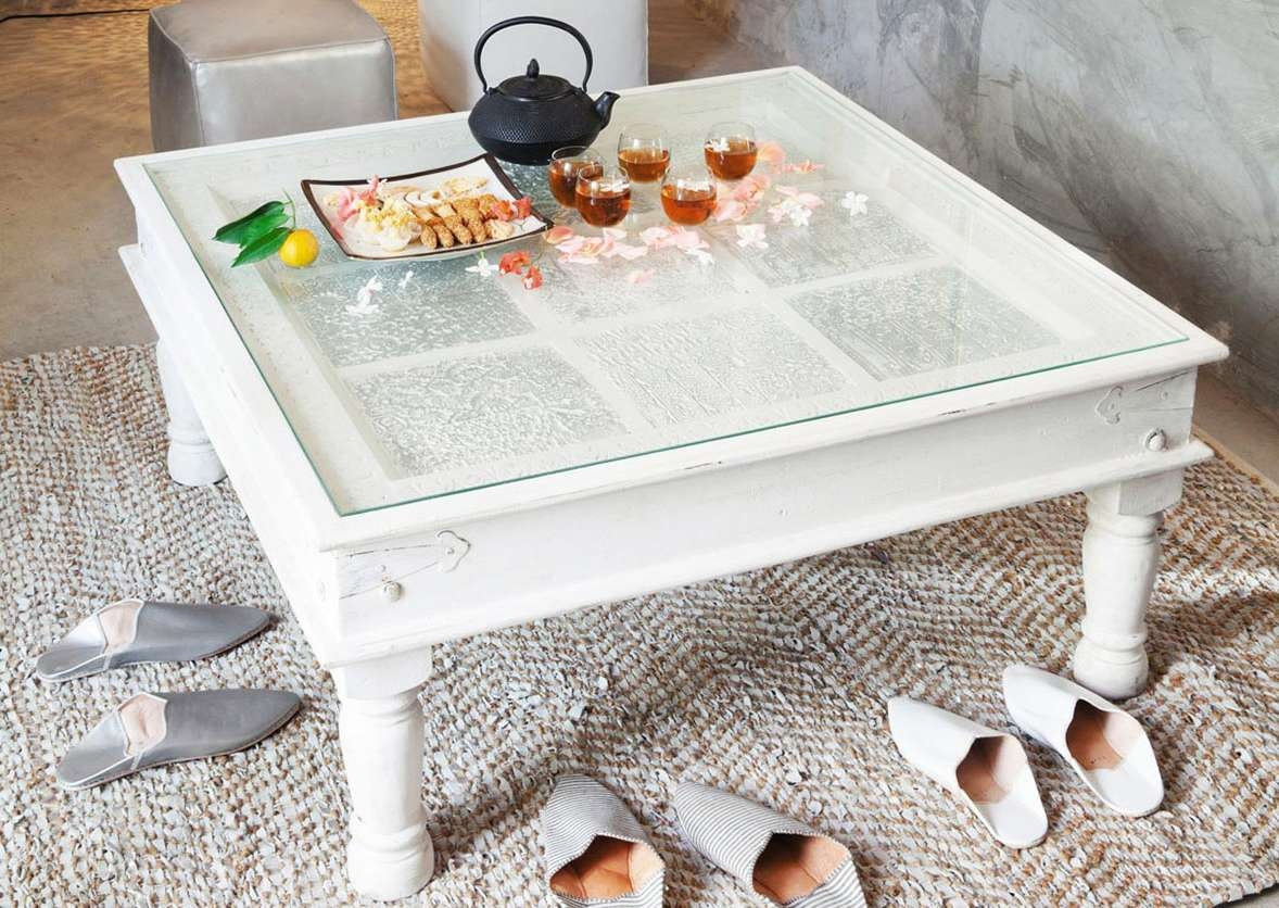 Coffee Table: Interesting Square Coffee Table White Decorating Pertaining To Latest White And Glass Coffee Tables (View 7 of 20)