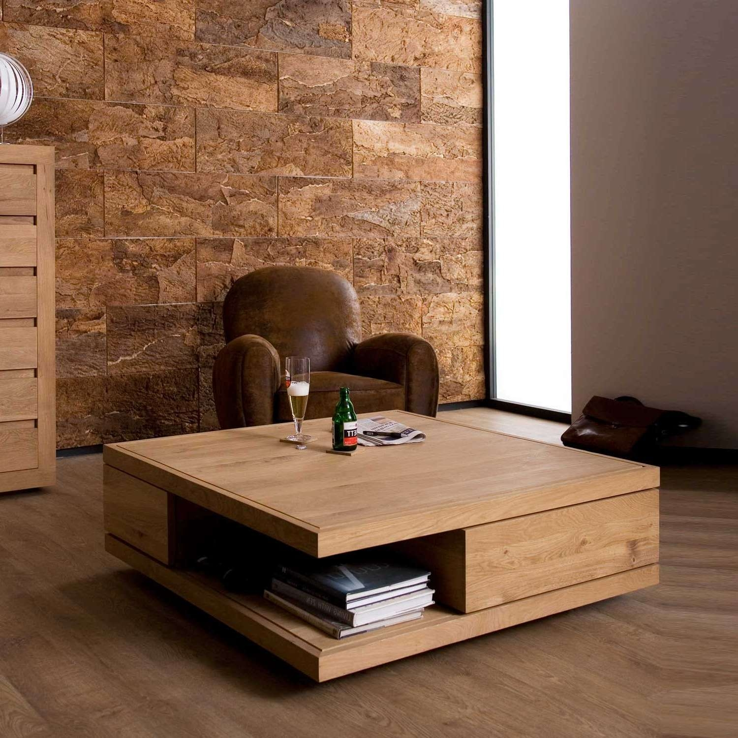 Coffee Table : Large Oak Coffee Table With Drawers Coffee Tables Pertaining To Widely Used Large Oak Coffee Tables (View 6 of 20)