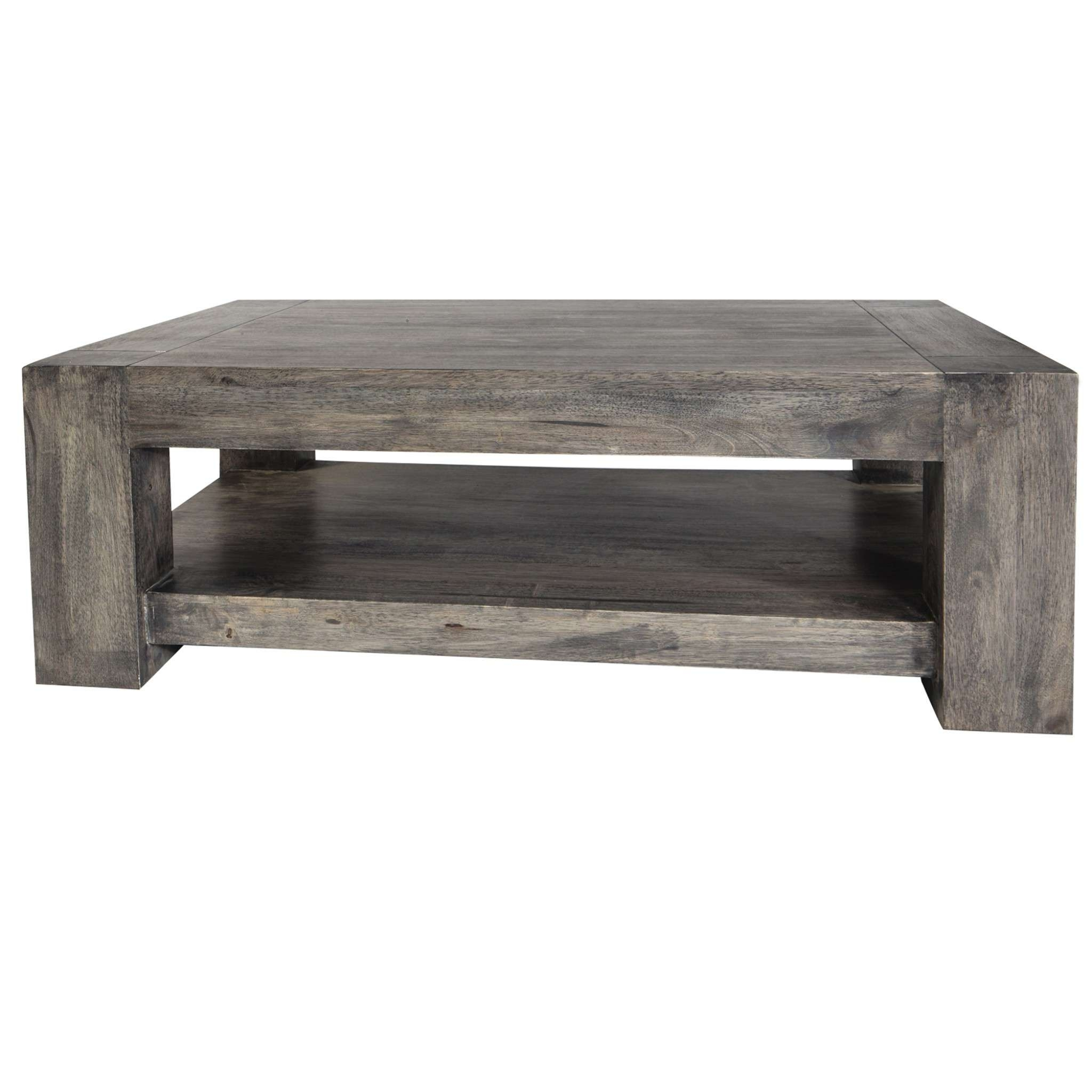 Coffee Table, Masculine Acacia Grey Coffee Table With A Shelf And Intended For Well Known Grey Wood Coffee Tables (View 6 of 20)