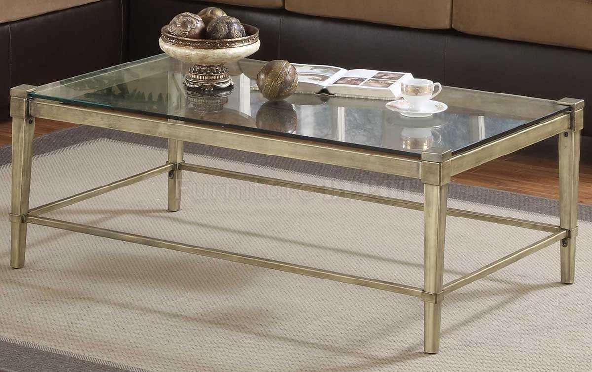 Coffee Table Metal Frame Glass Top Sturdy Rectangular Modern Style With 2018 Glass Metal Coffee Tables (View 6 of 20)