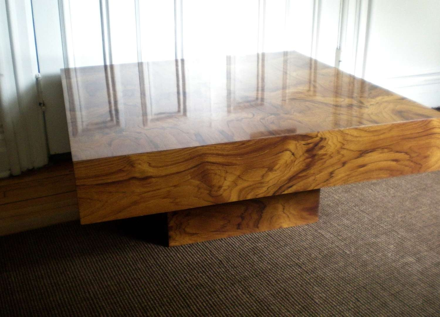 Coffee Table, Modern Burl Wood Coffee Table Solid Wood Coffee Inside Preferred Large Contemporary Coffee Tables (View 6 of 20)