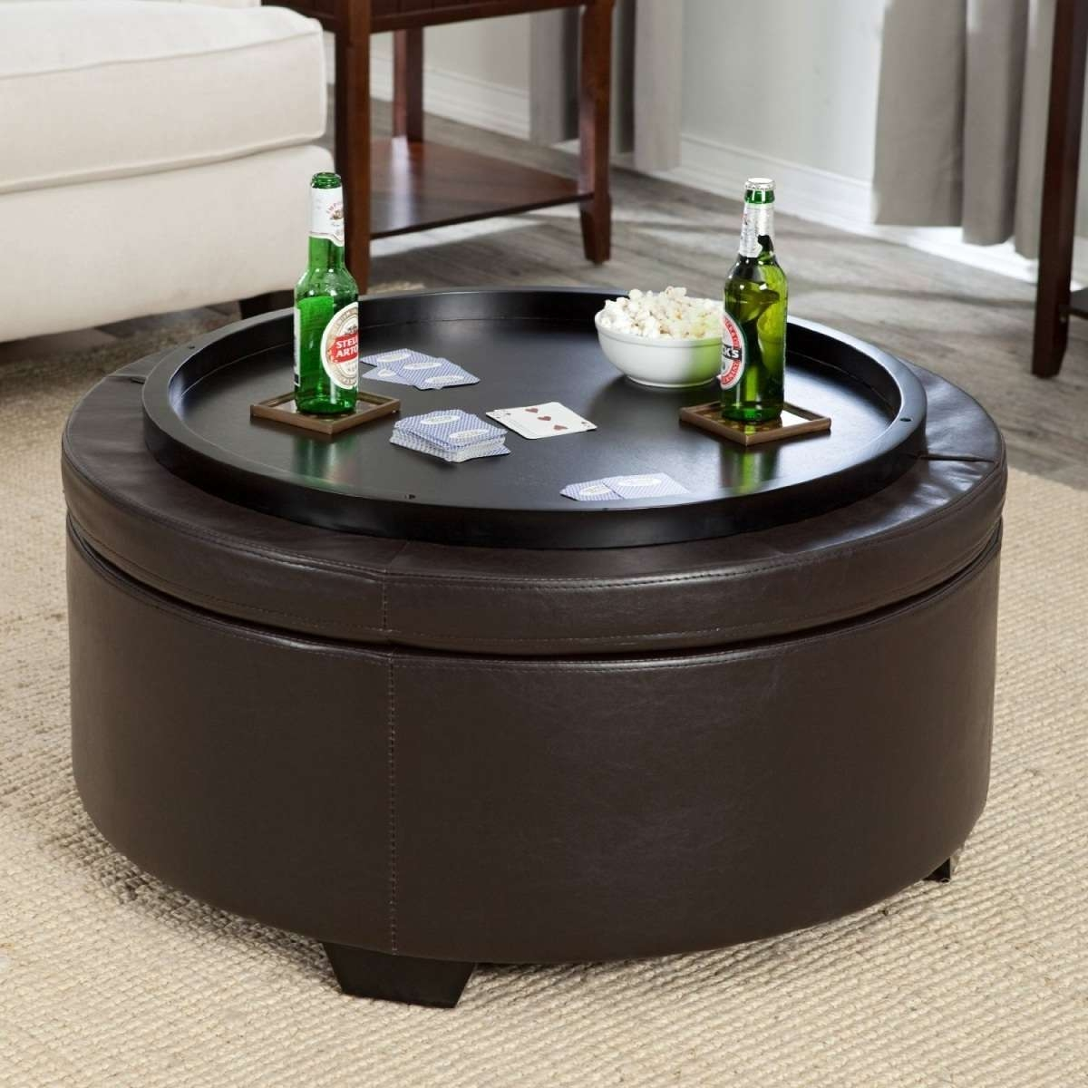 Coffee Table Round Coffee Table Ottoman Diy As Your Best Jcpenney With Regard To Well Known Round Coffee Tables With Storages (View 4 of 20)