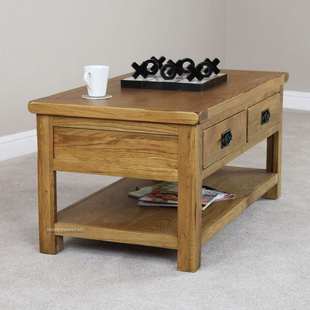 Coffee Table Rustic With Drawers Oak Drawer Throughout Most Up To Date