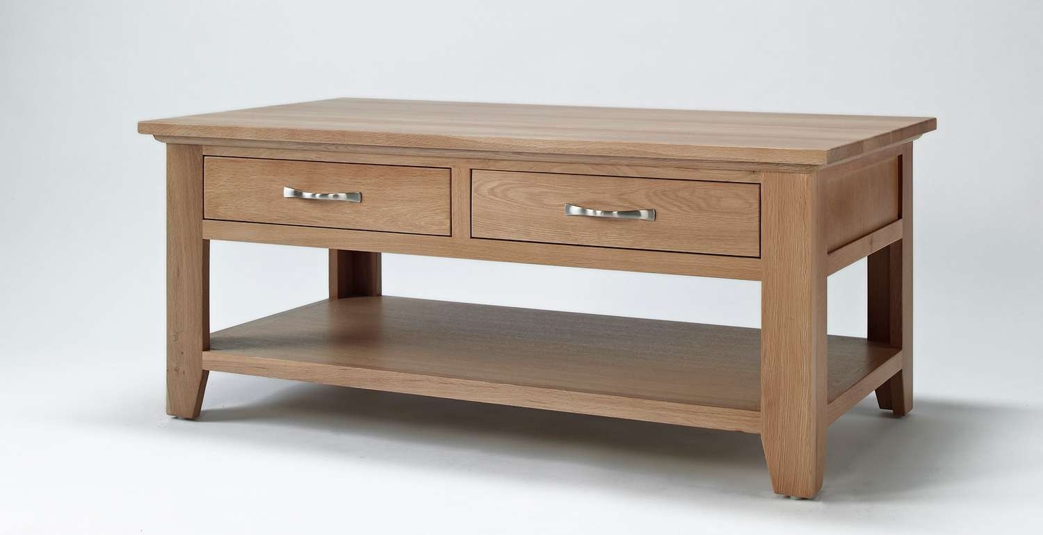 Coffee Table, Sherwood Oak Coffee Table With Two Drawers Small Pertaining To Best And Newest Round Coffee Tables With Drawers (View 13 of 20)