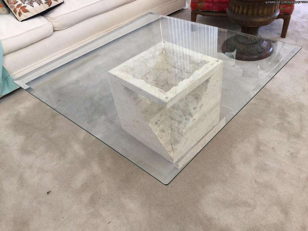 Coffee Table Small With Glass Top Square Bases Only For Top For Most Recently Released Stone And Glass Coffee Tables (View 3 of 20)
