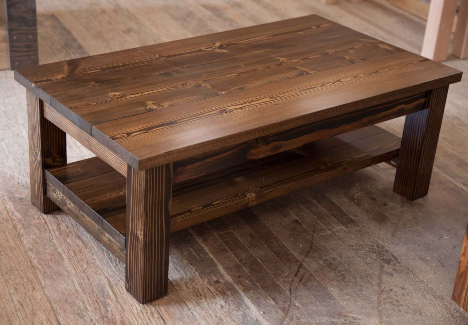Coffee Table : Solid Wood Coffee Table Awesome Rustic Tables With Throughout Trendy Solid Wood Coffee Tables (View 2 of 20)