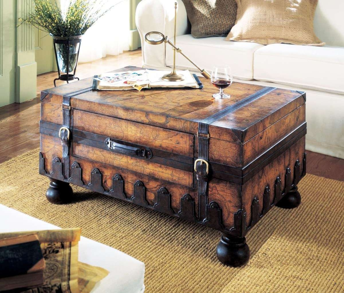 Coffee Table Square Wood Trunk Dark Storage Intended For Fashionable