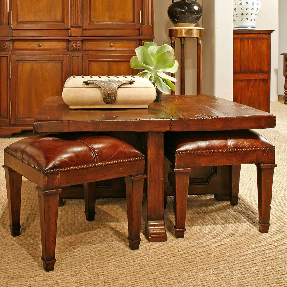 Coffee Table With 4 Nesting Stools – So That's Cool Regarding Most Recent Coffee Tables With Nesting Stools (View 4 of 20)