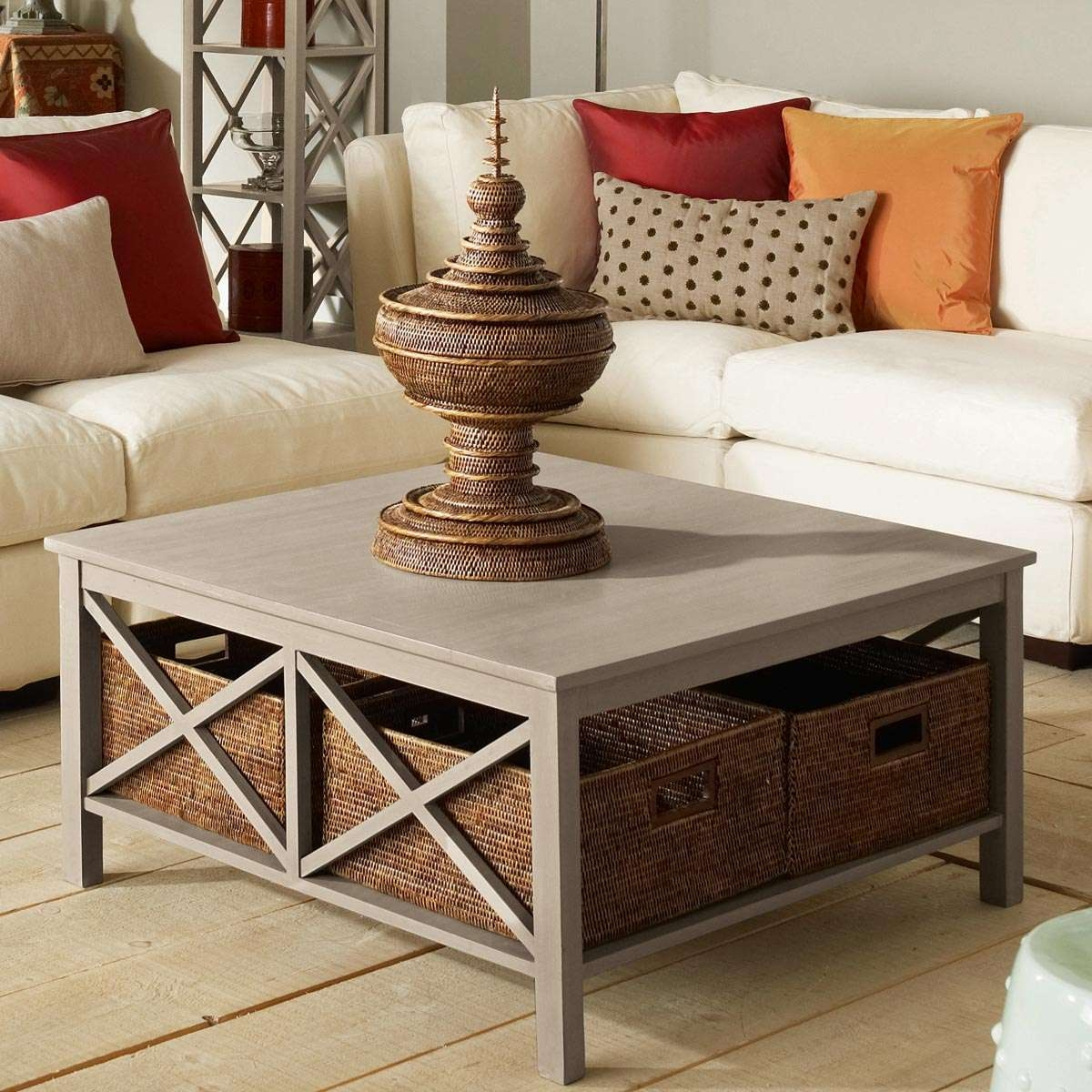 Coffee Table With Baskets – Writehookstudio Regarding Most Recent White Coffee Tables With Baskets (View 7 of 20)