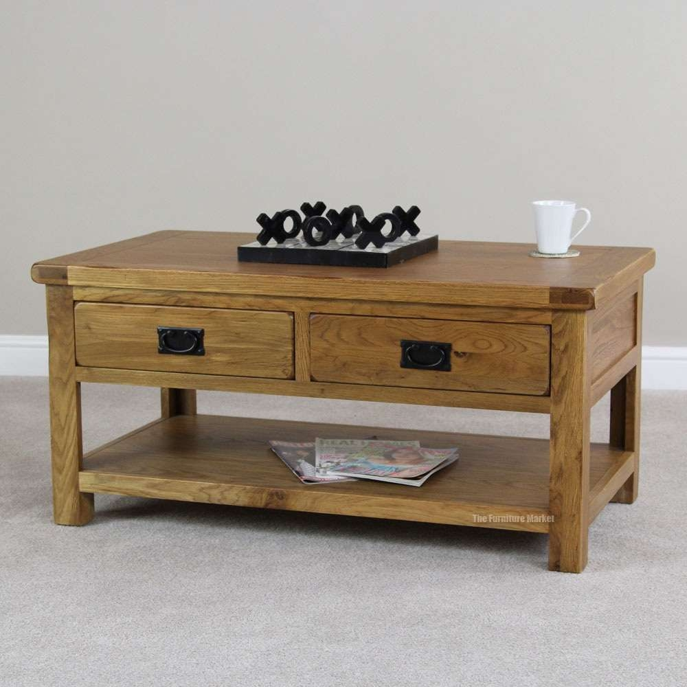 Coffee Table: Wonderful 10 Inspiration Rustic Oak Coffee Tables With Best And Newest Rustic Oak Coffee Table With Drawers (View 4 of 20)