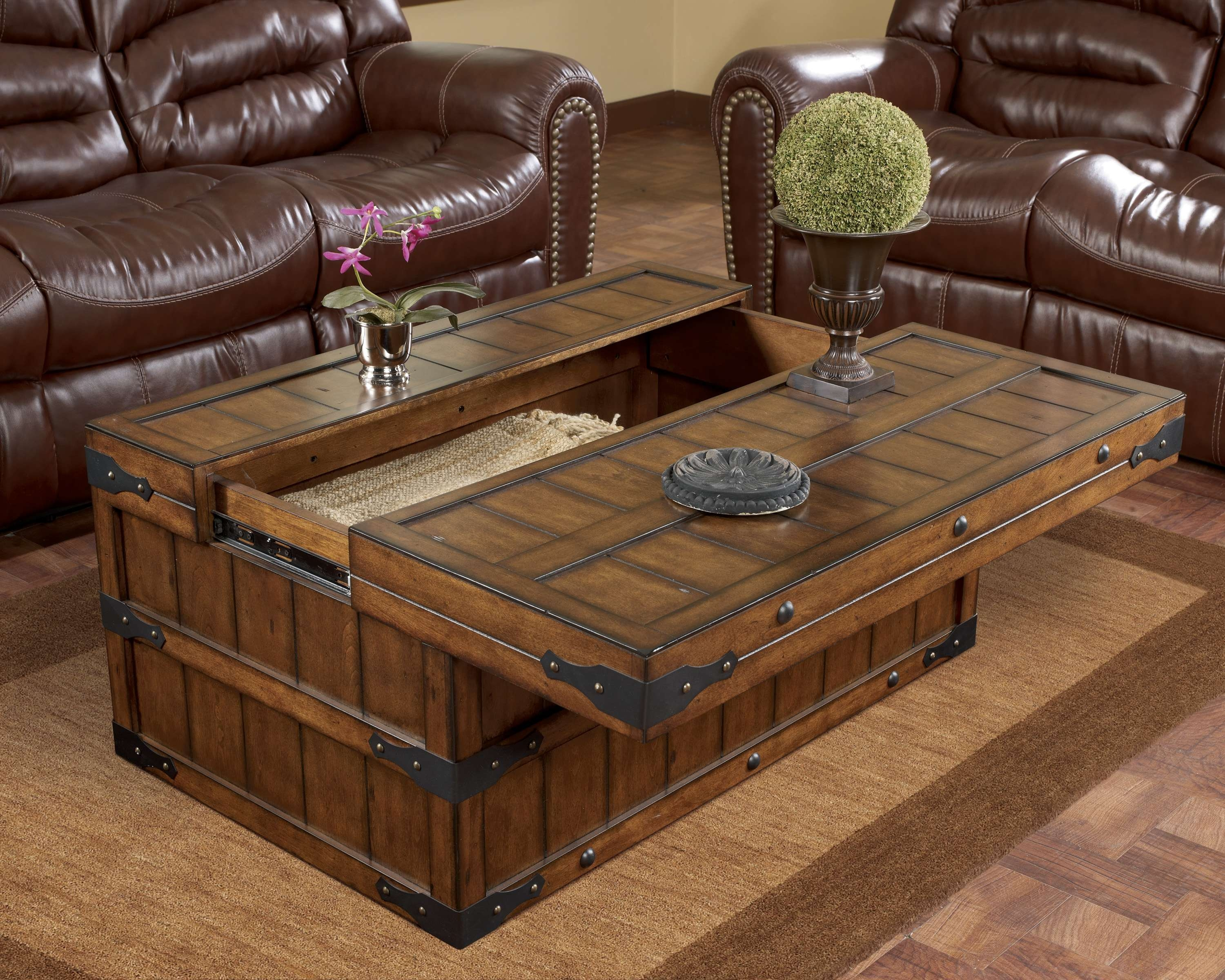 Coffee Table : Wonderful Farmhouse Style Coffee Table Reclaimed With Most Up To Date Hardwood Coffee Tables With Storage (View 6 of 20)