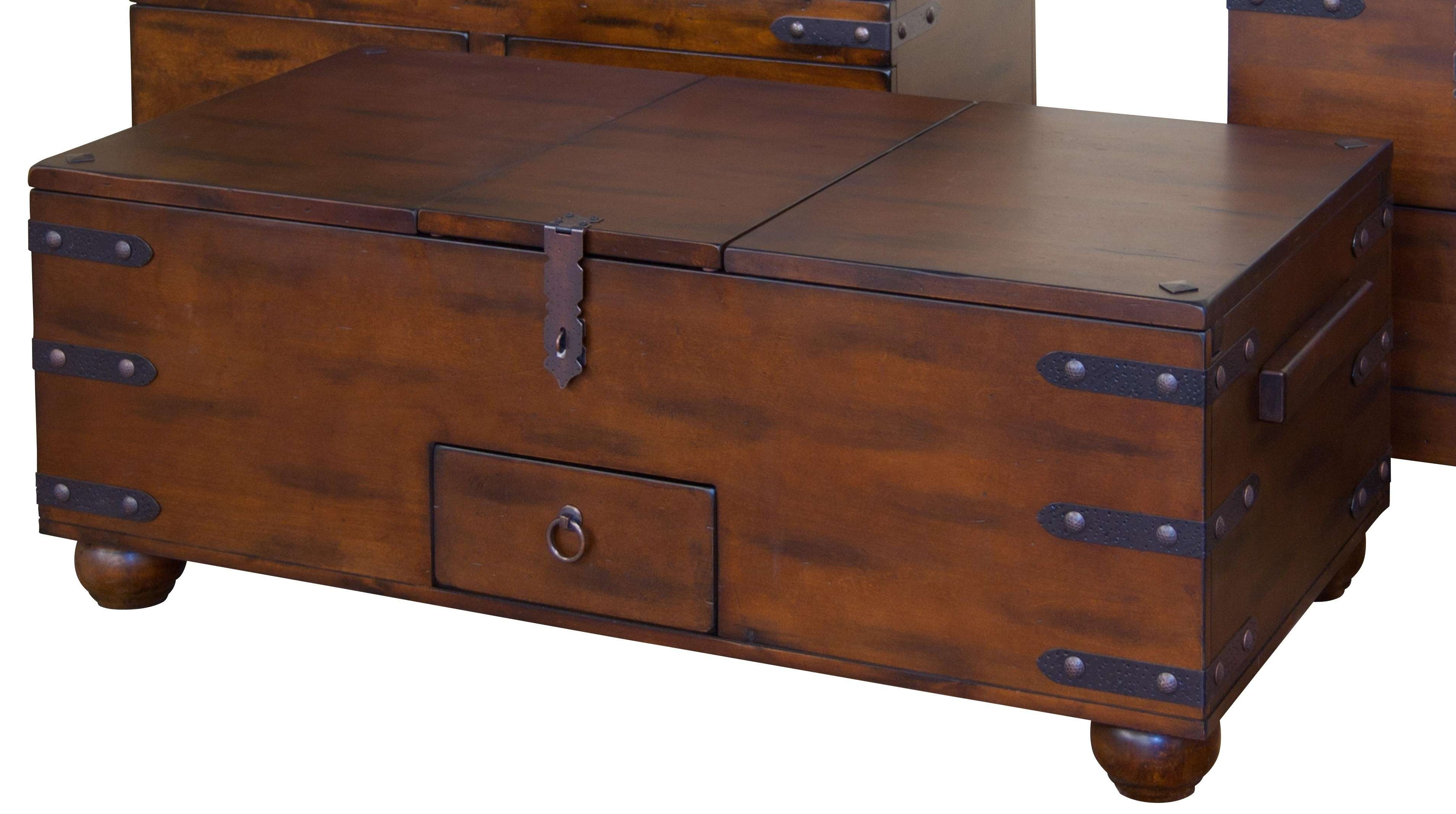 Coffee Table : Wonderful Leather Trunk Coffee Table Square Trunk Within Latest Wooden Trunks Coffee Tables (View 7 of 20)