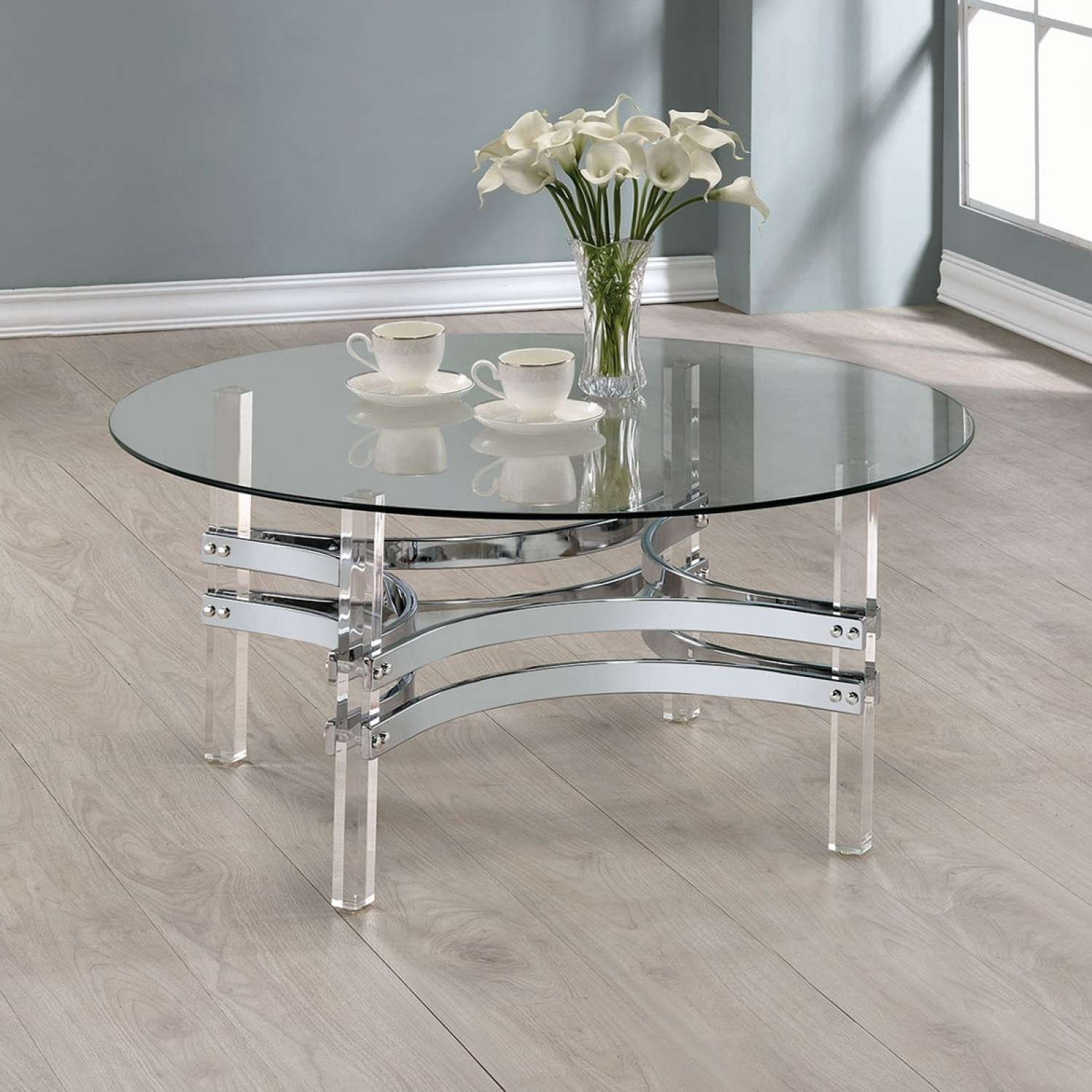 Coffee Table : Wonderful Round Glass Top Coffee Table Triangle Regarding 2018 All Glass Coffee Tables (View 12 of 20)