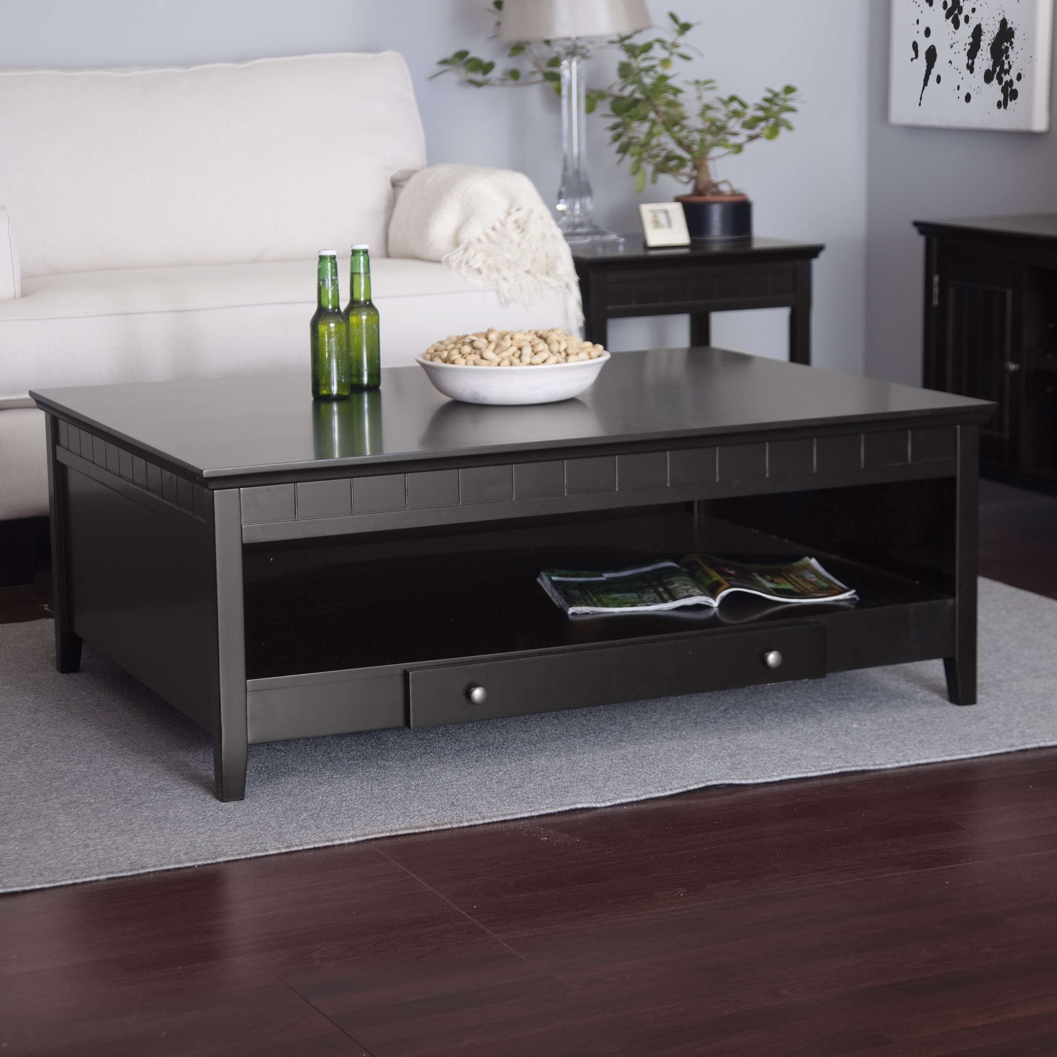 Coffee Table : Wonderful Side Table Design Round Glass Coffee Intended For Most Recently Released Dark Wood Coffee Table Storages (View 3 of 10)