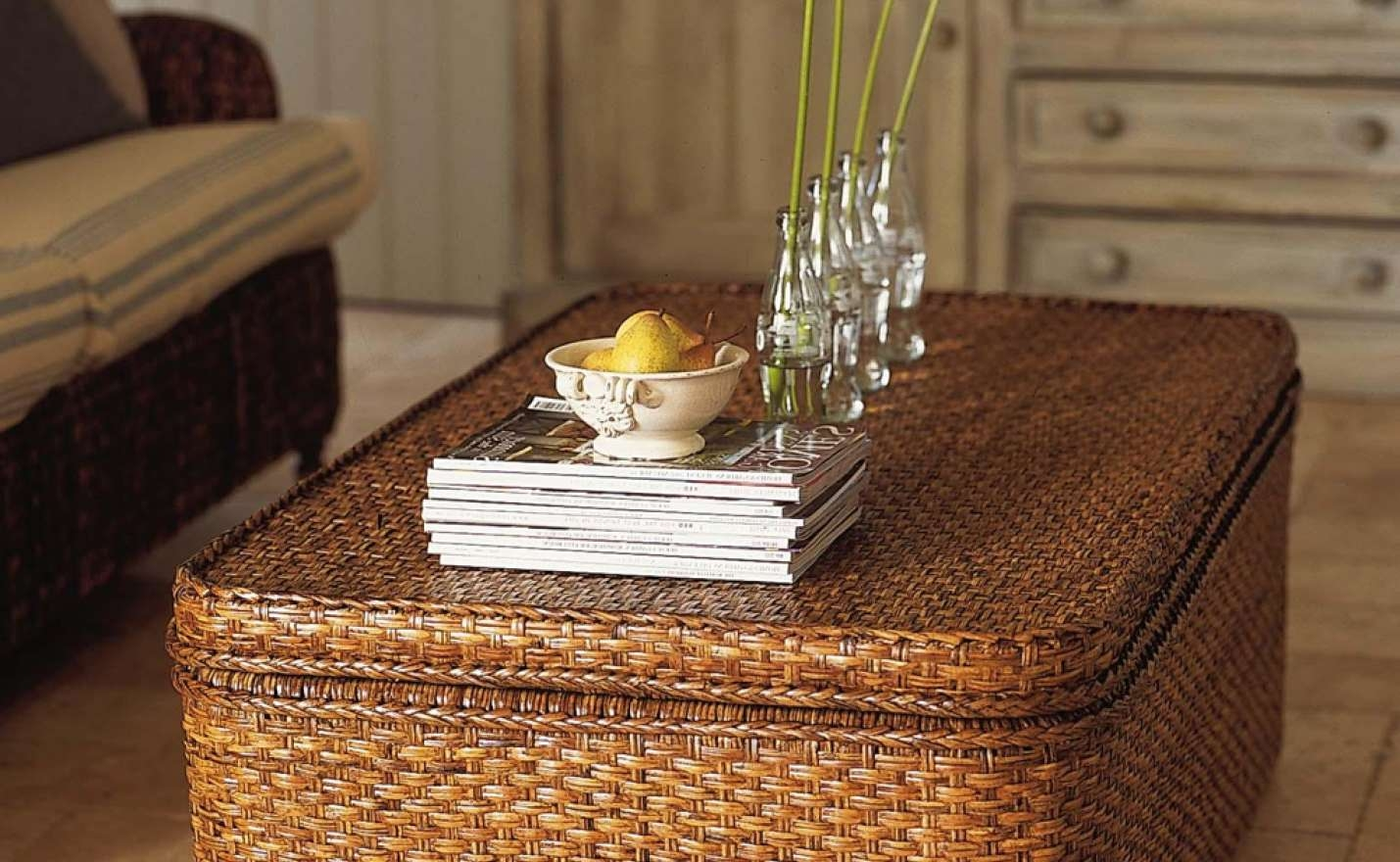 Coffee Table : Wooden Coffee Table With Seagrass Wicker Storage For Most Up To Date Coffee Table With Wicker Basket Storage (View 3 of 20)