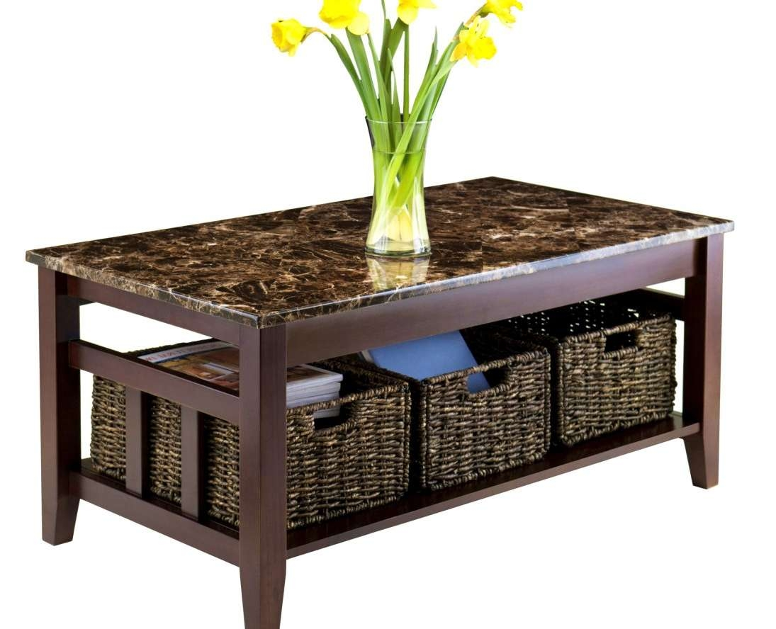 Coffee Table : Wooden Coffee Table With Seagrass Wicker Storage Throughout 2018 Coffee Table With Wicker Basket Storage (View 5 of 20)