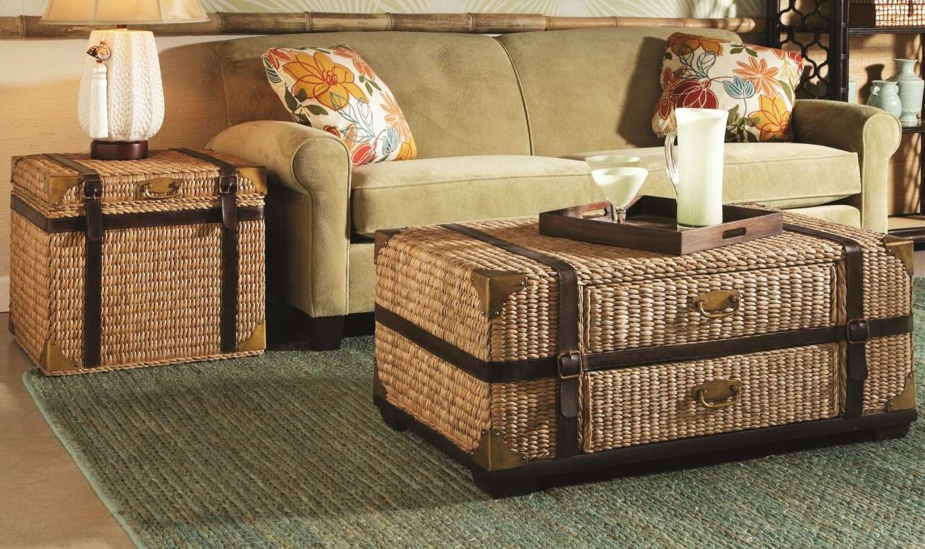 Coffee Table : Wooden Coffee Table With Seagrass Wicker Storage Within Latest Coffee Table With Wicker Basket Storage (View 6 of 20)
