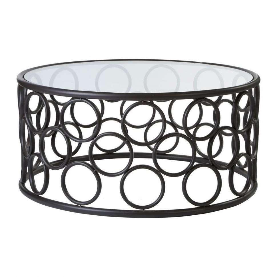 Coffee Tables : Antalya Round Coffee Table Black Metal Frame Glass With Regard To Popular Glass And Black Metal Coffee Table (View 14 of 20)