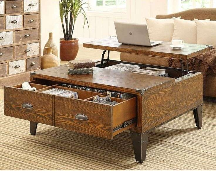Coffee Tables : Astonishing Rustic Coffee Table With Storage Inside Trendy Square Storage Coffee Table (View 5 of 20)