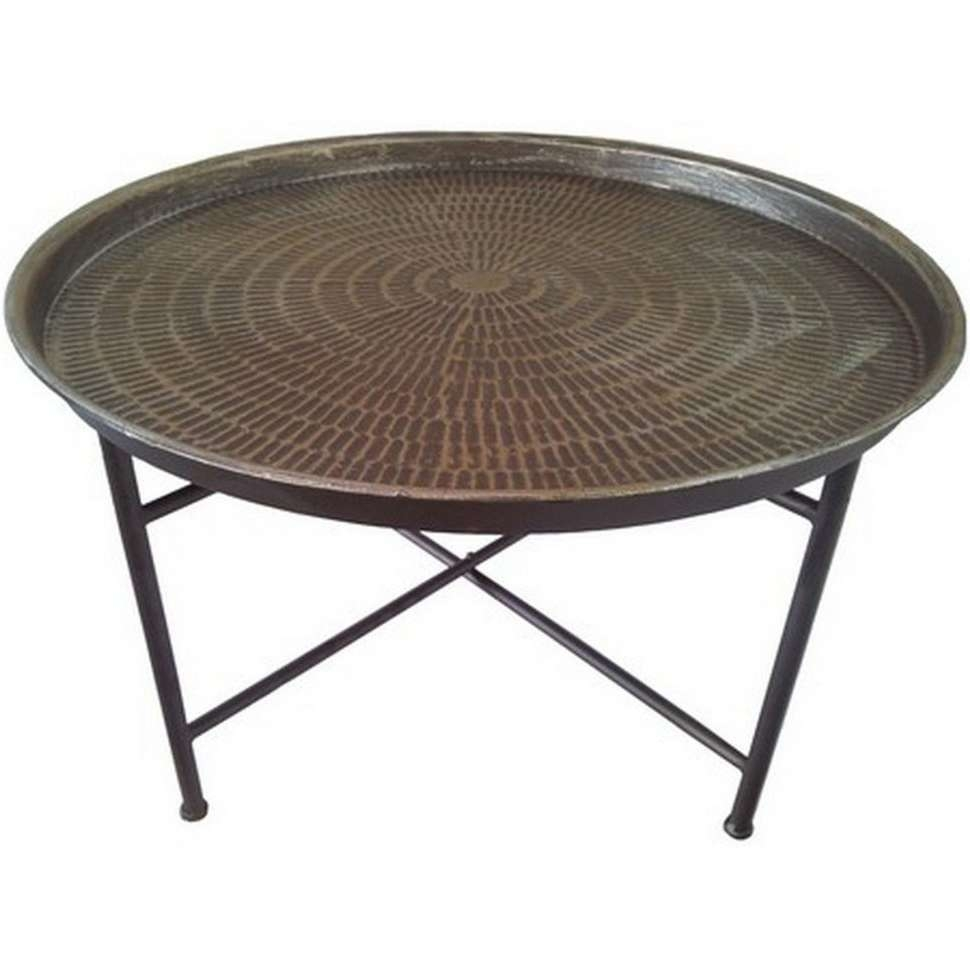 Coffee Tables : Bali Hammered Metal Round Coffee Table With With Latest Metal Coffee Tables (View 8 of 20)