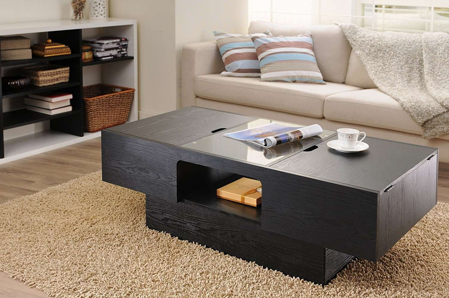 Coffee Tables : Beautiful Storage Small Storage Table Nesting Pertaining To Popular Black Coffee Tables With Storage (View 5 of 20)